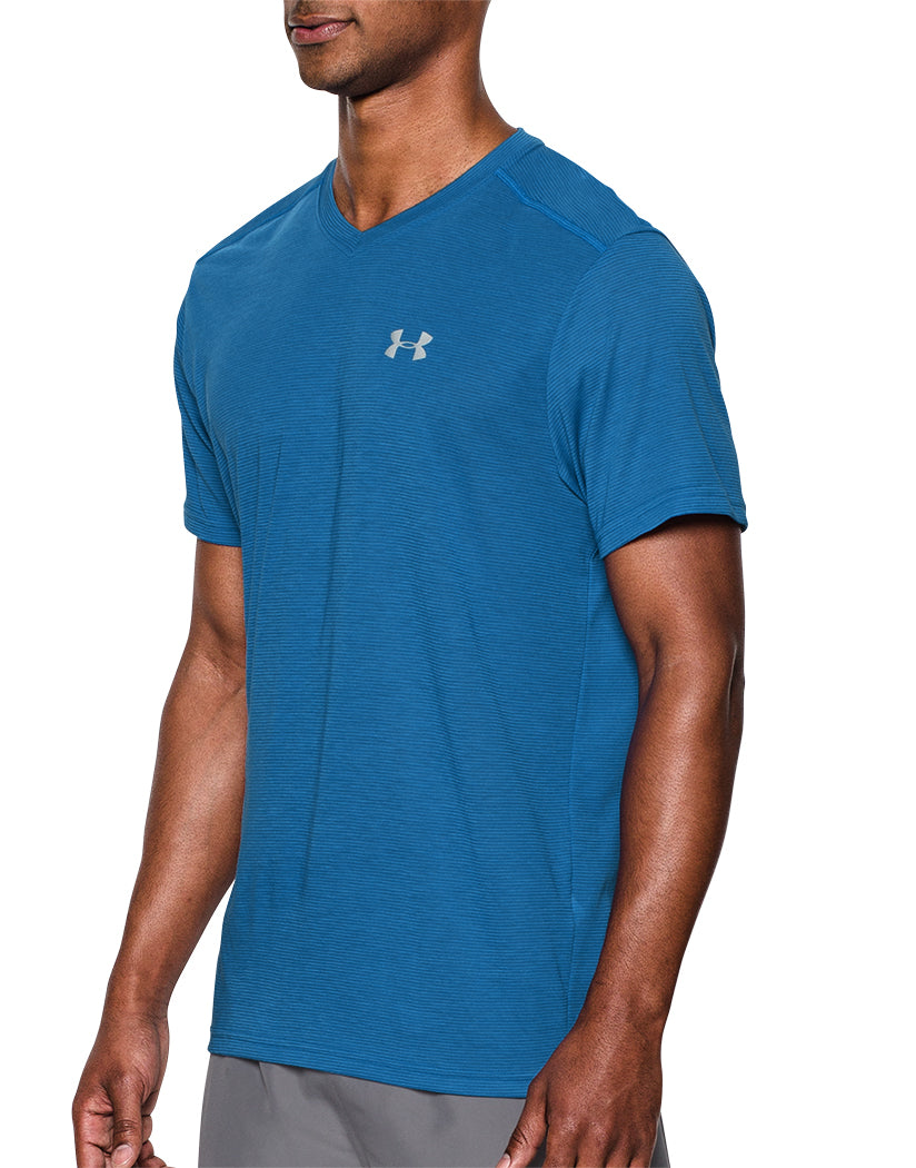 Bright Blue Side Under Armour Streaker Run V-Neck T-Shirt