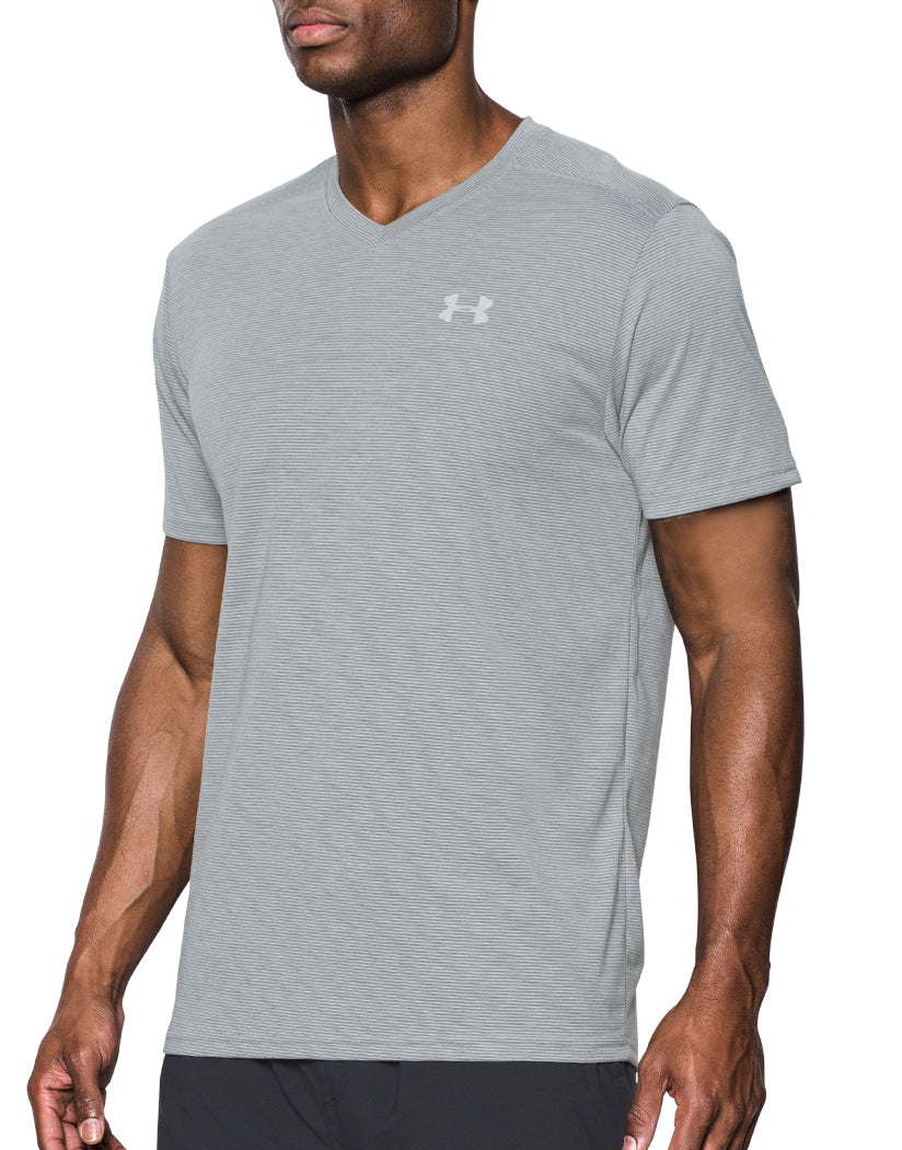 Light Grey Side Under Armour Streaker Run V-Neck T-Shirt