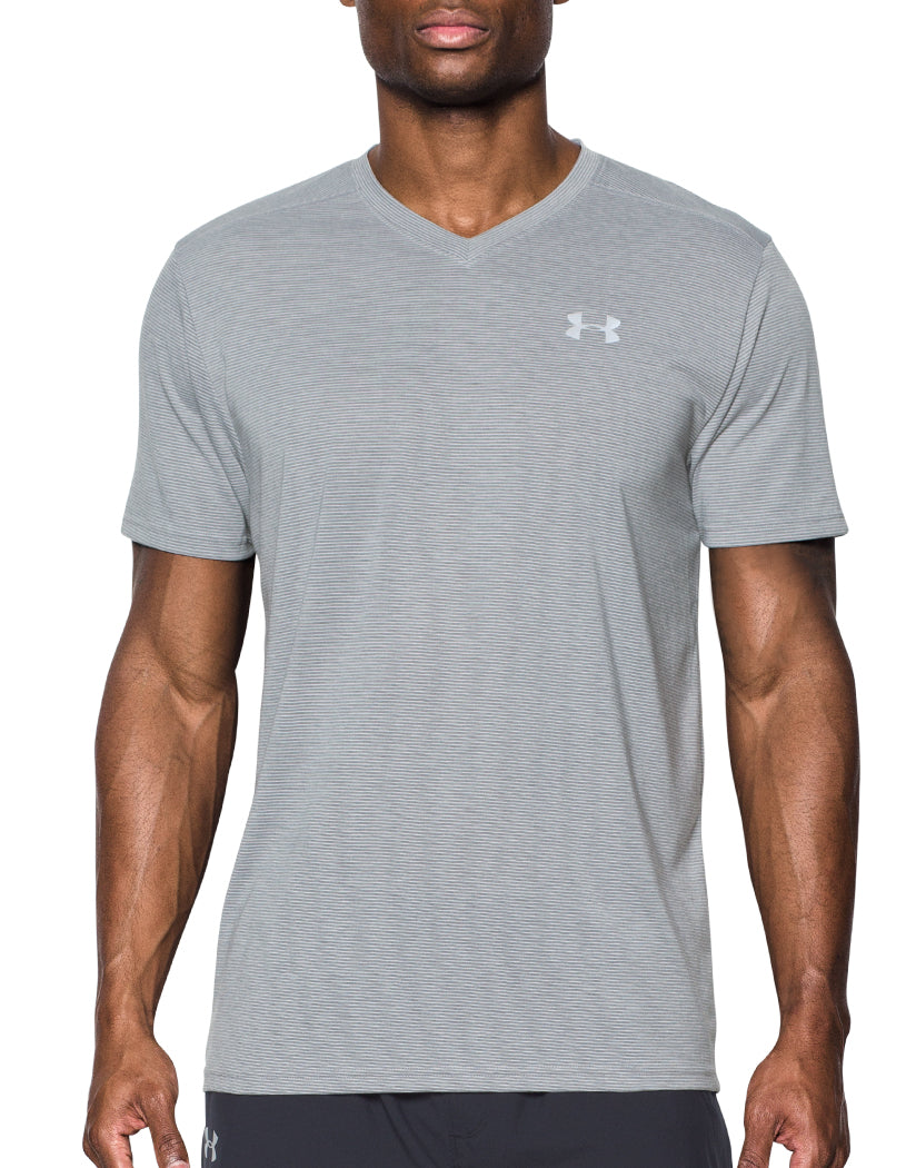 Under Armour Streaker Run V-Neck T-Shirt Light Grey L 190496976757