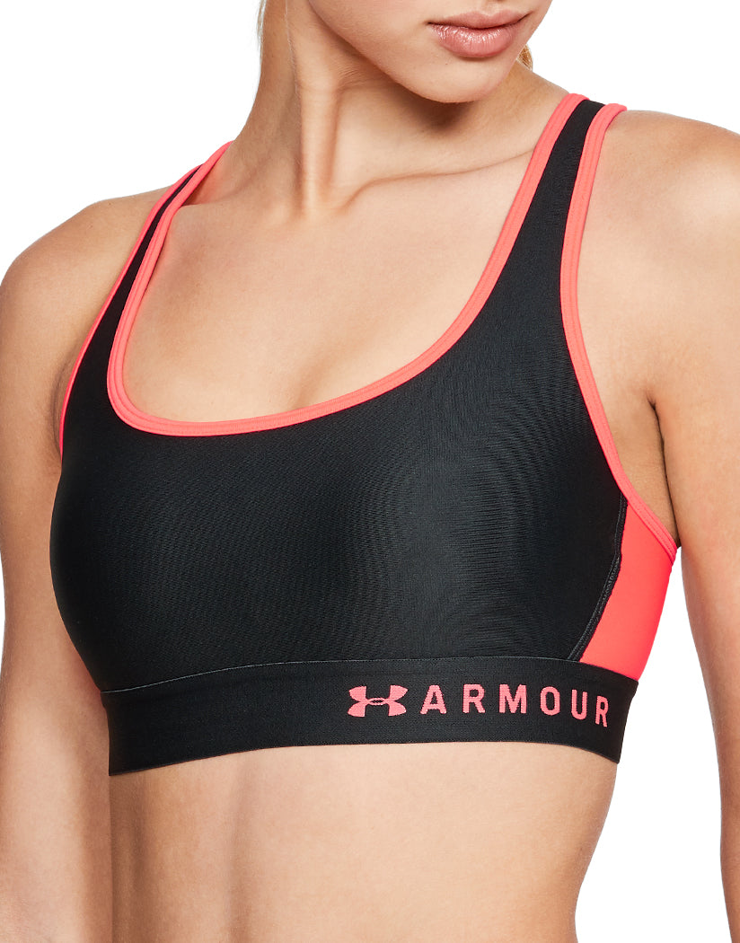 Black-Peach Front Under Armour Women Armour Mid Crossback Sport Bra