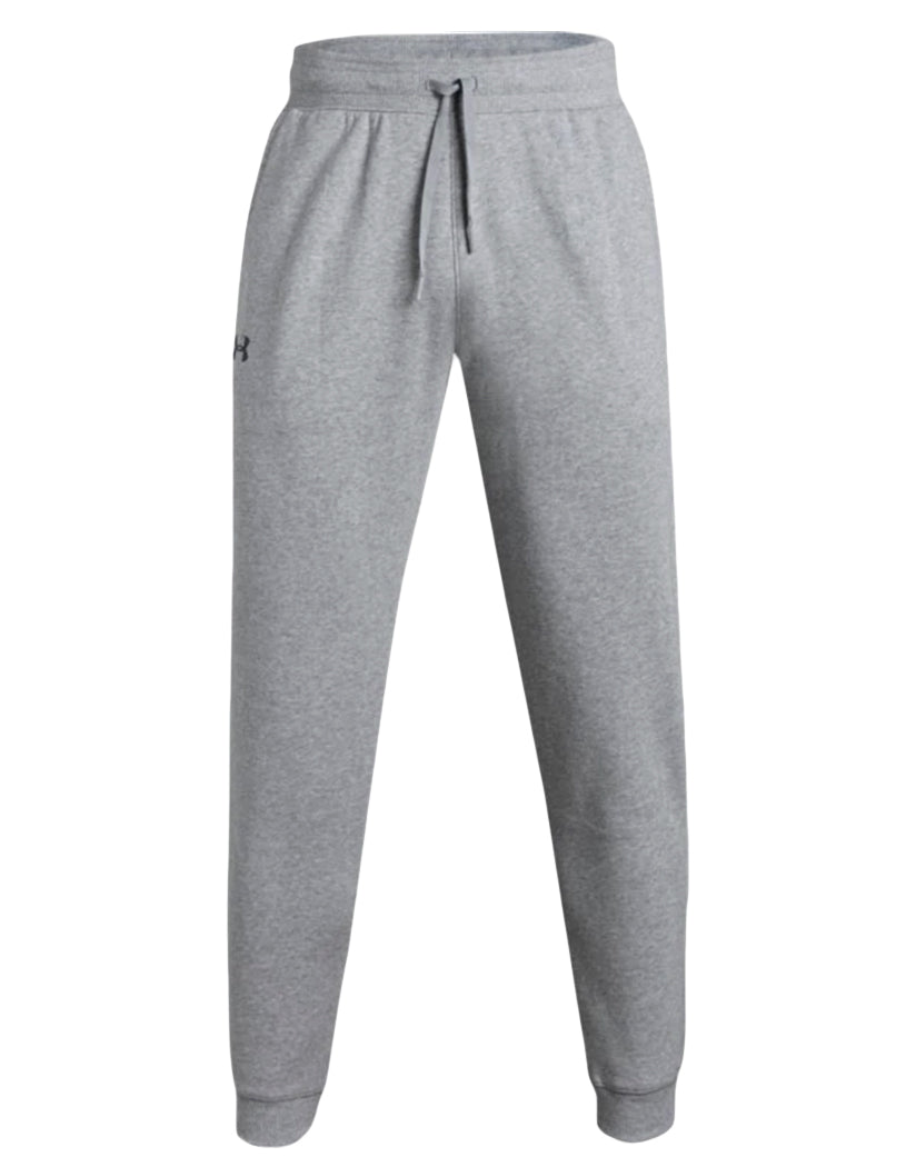 True Gray Heather-Black Front Under Armour Hustle Fleece Jogger 1317455