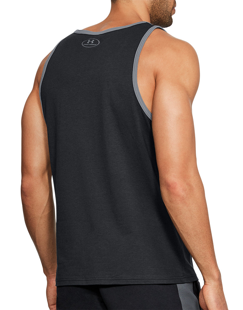 Black Back Under Armour Stacked Left Chest Tank