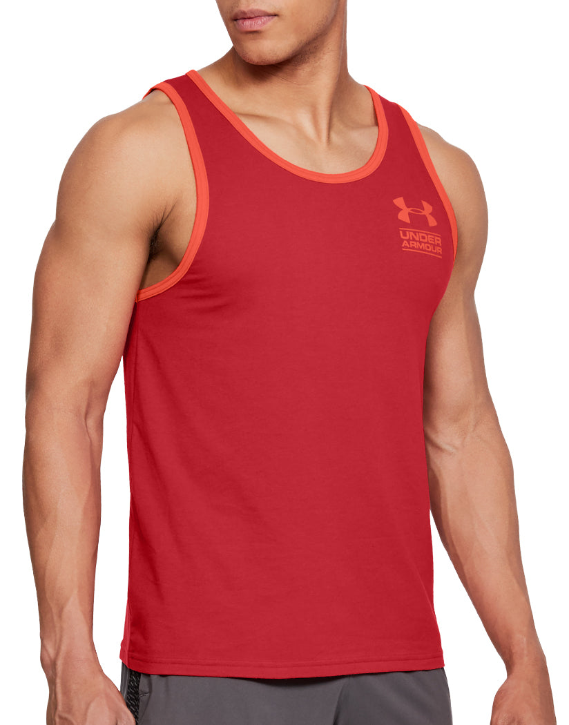 Red Front Under Armour Stacked Left Chest Tank