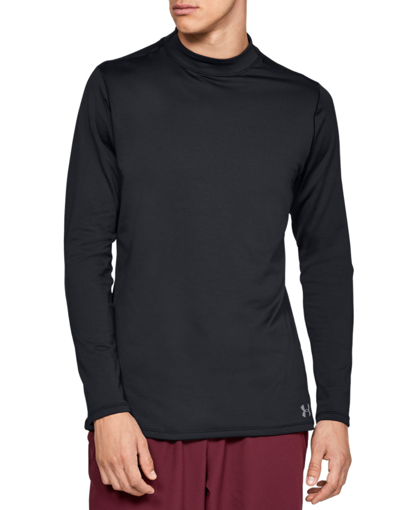 Black/Steel Front Under Armour ColdGear Armour Mock Fitted Long Sleeve 1320805