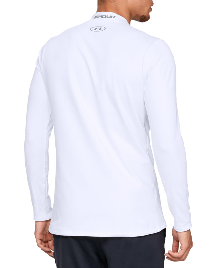 White/Steel Back Under Armour ColdGear Armour Mock Fitted Long Sleeve 1320805
