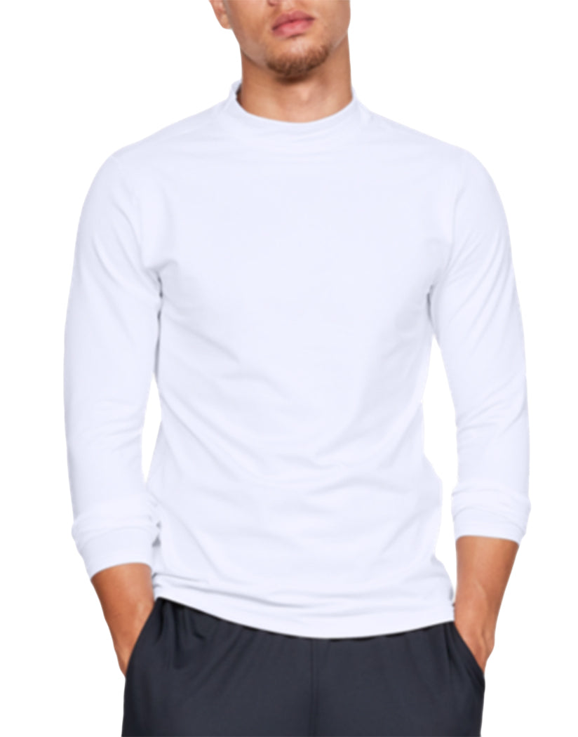 White/Steel Front Under Armour ColdGear Armour Mock Fitted Long Sleeve 1320805