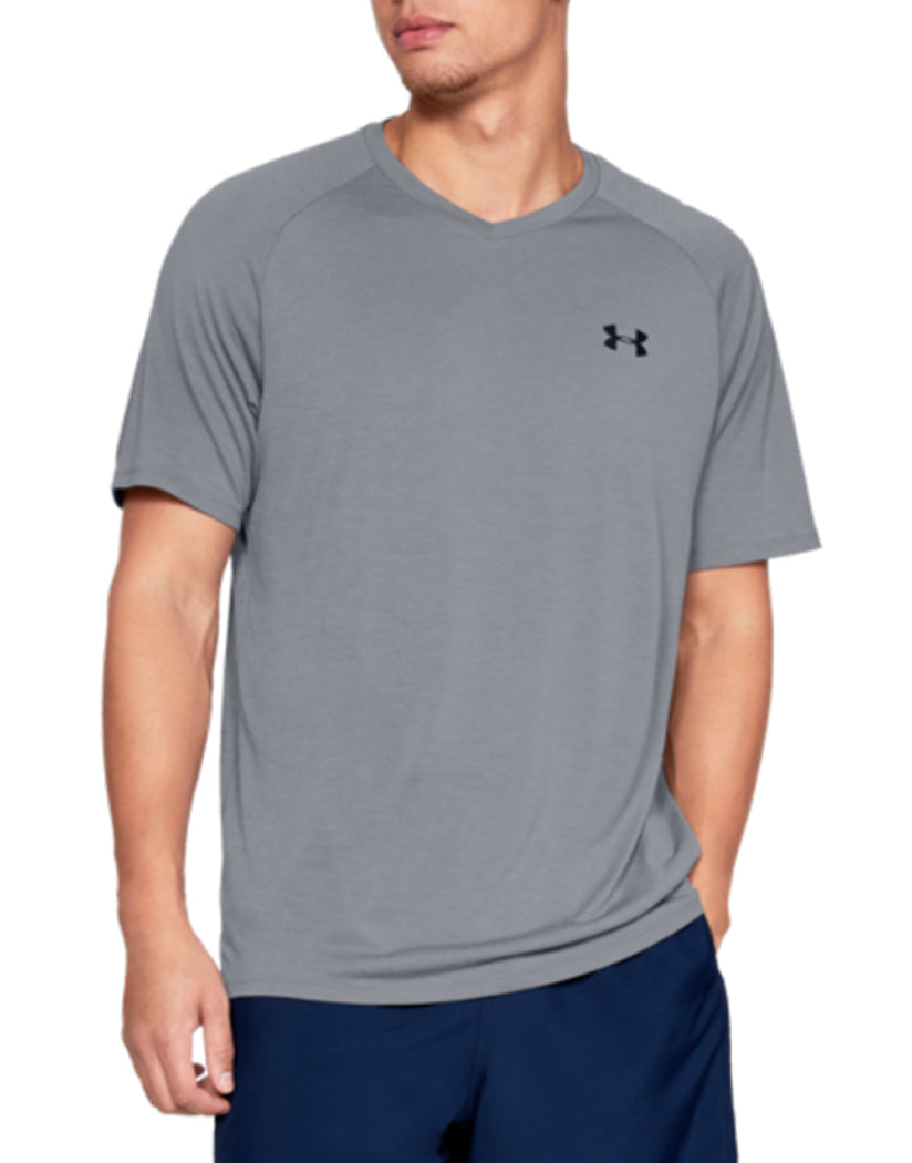 Steel/Black Front Under Armour Tech 2.0 V-Neck T-Shirt 1328190