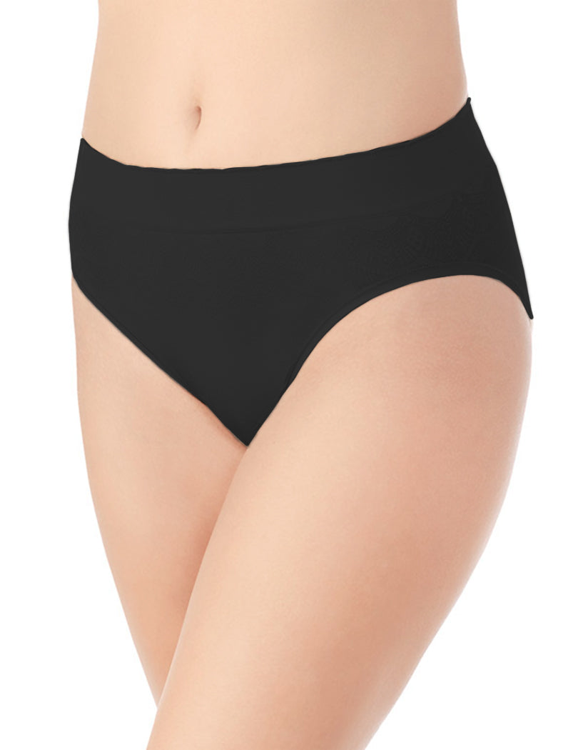 Midnight Black Front No Pinch, No Show Hi Cut Seamless Brief