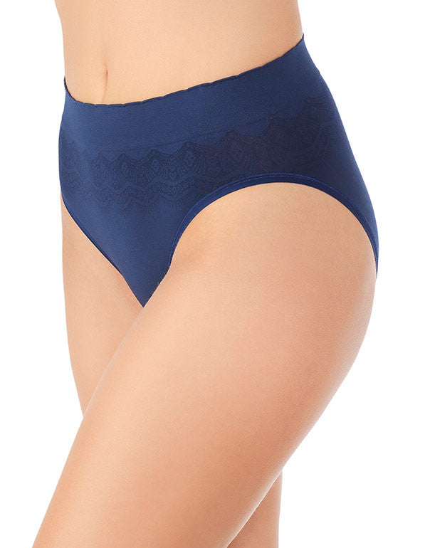 Ghost Navy Lace Front No Pinch, No Show Hi Cut Seamless Brief