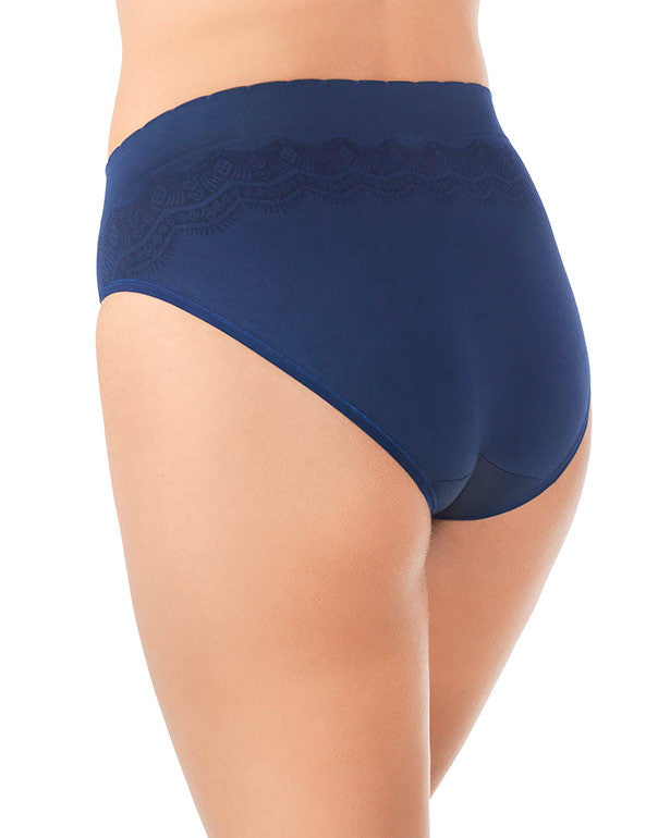 Ghost Navy Lace Back No Pinch, No Show Hi Cut Seamless Brief