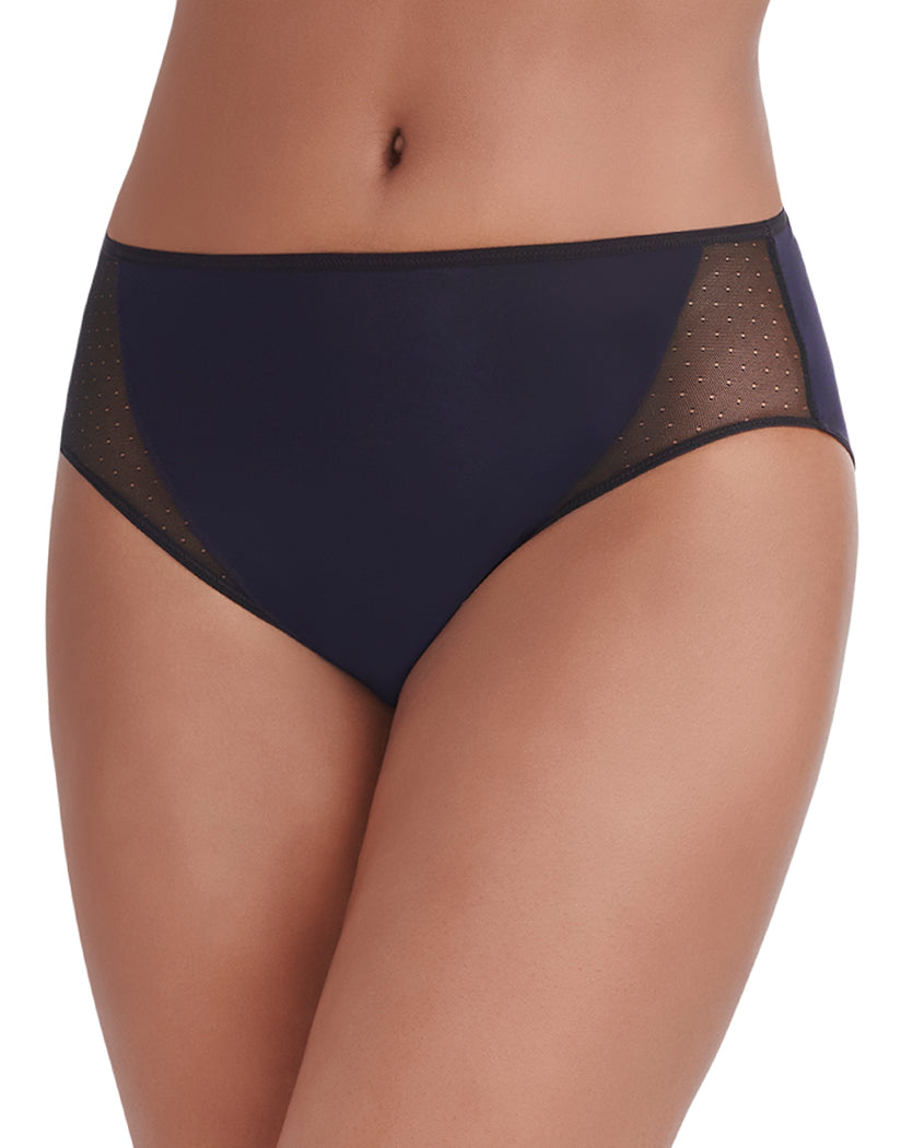 Midnight Black Front Vanity Fair Breathable Luxe Hi-Cut Brief 13181