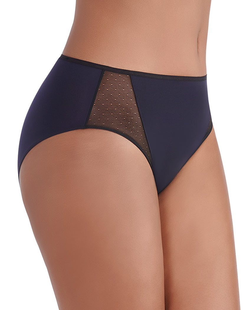 Midnight Black Side Vanity Fair Breathable Luxe Hi-Cut Brief 13181