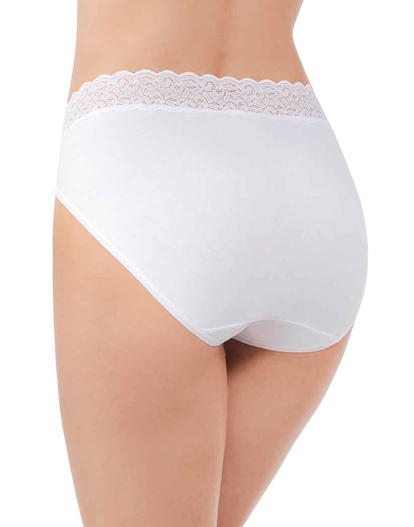 Star White Back Vanity Fair Flattering Lace Cotton Stretch Hi Cut Brief 13395