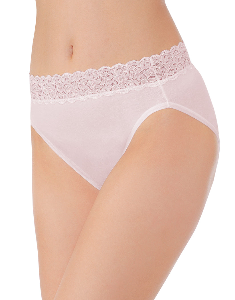 Sheer Quartz Front Vanity Fair Flattering Lace Cotton Stretch Hi Cut Brief 13395