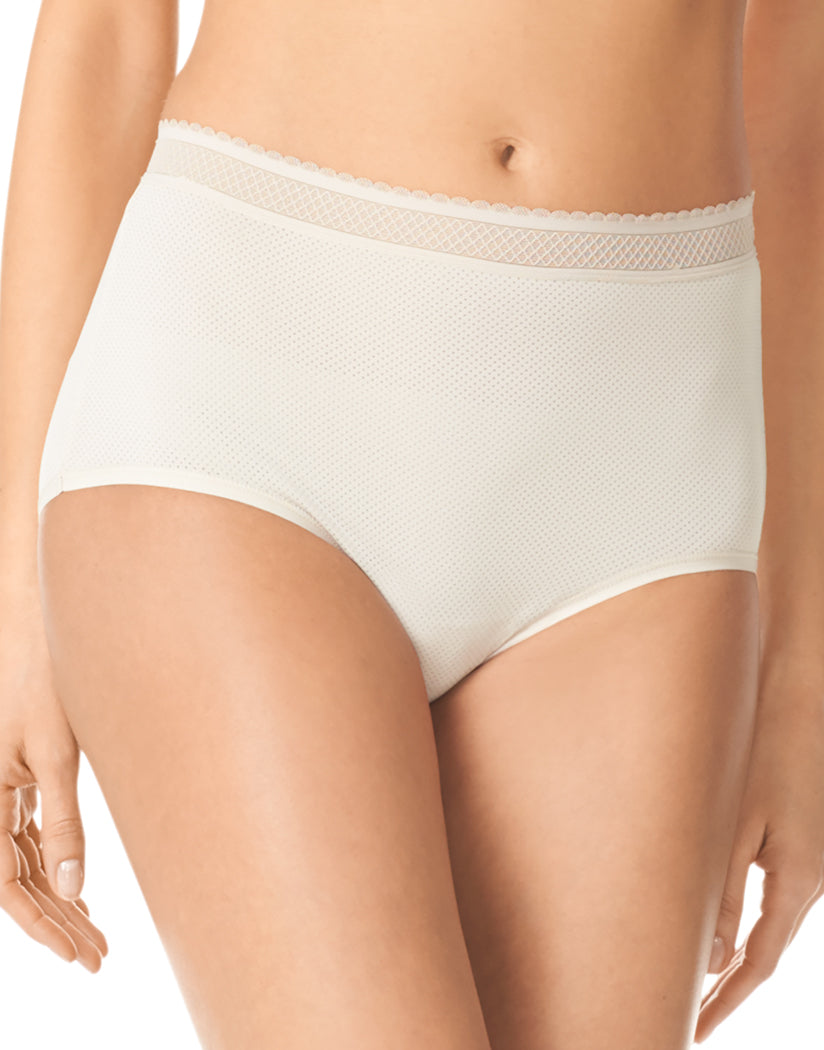Toasted Almond Front Warner's Breathe Freely Brief Panty With Lace RS4901P