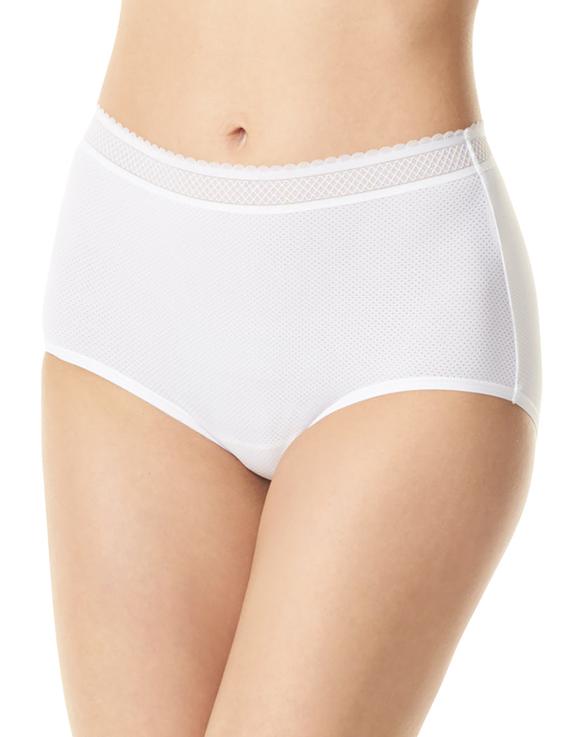 White Front Warner's Breathe Freely Brief Panty With Lace RS4901P