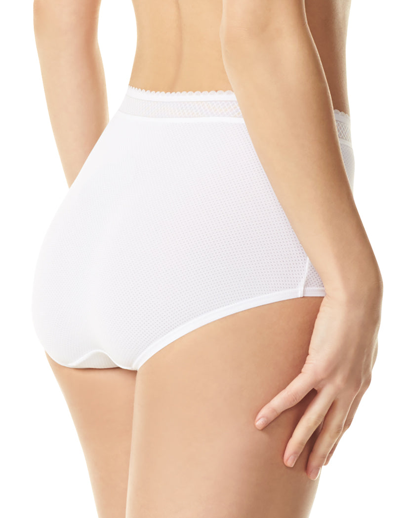 White Back Warner's Breathe Freely Brief Panty With Lace RS4901P