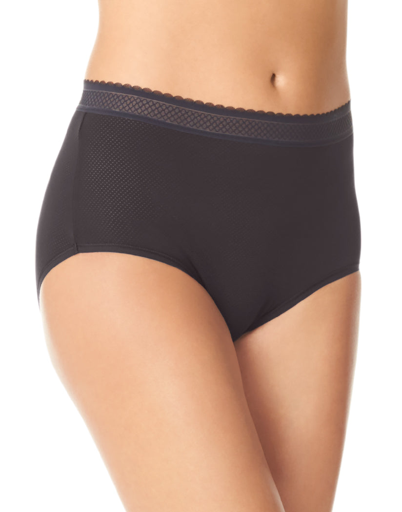 Rich Black Front Warner's Breathe Freely Brief Panty With Lace RS4901P