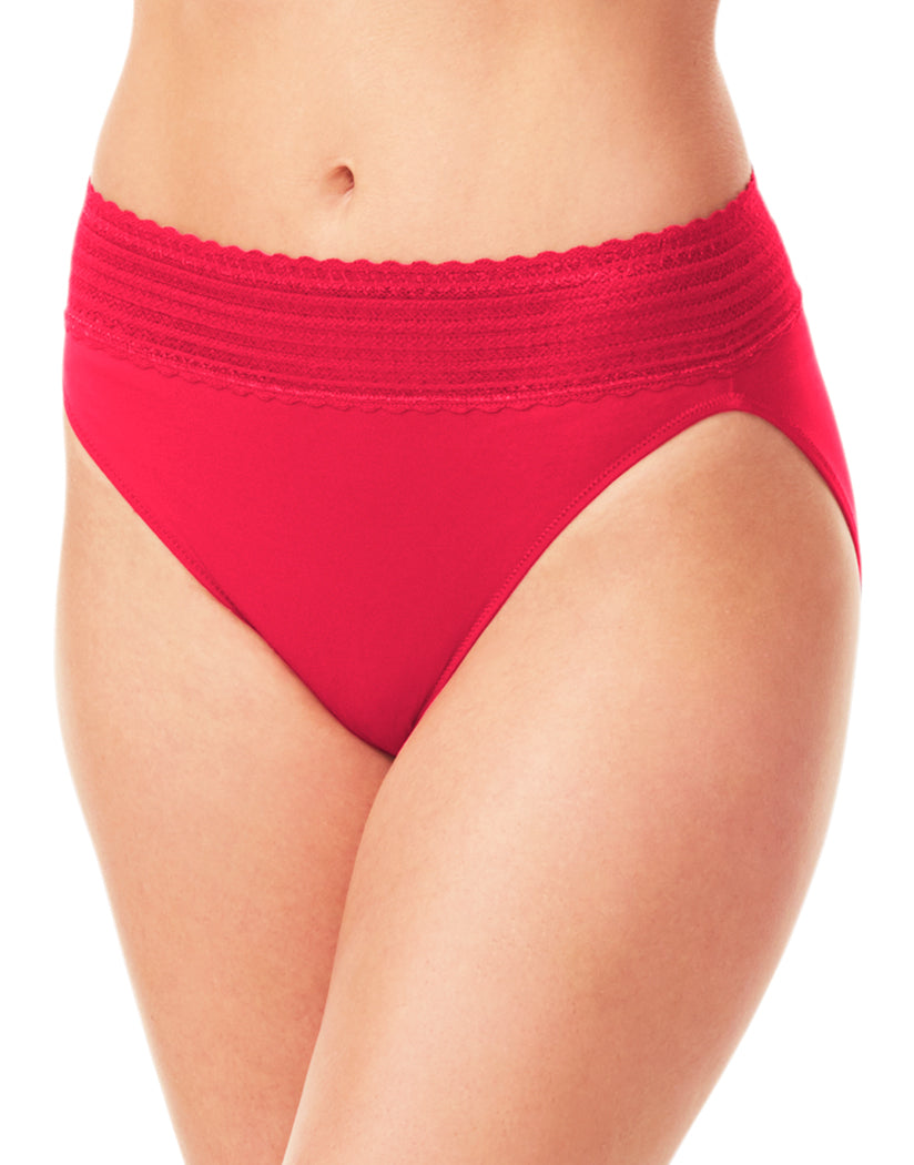 a0bef6bc362 Classic Red Front Warner s No Pinching No Problems Lace Trim Hi Cut Briefs  5109J