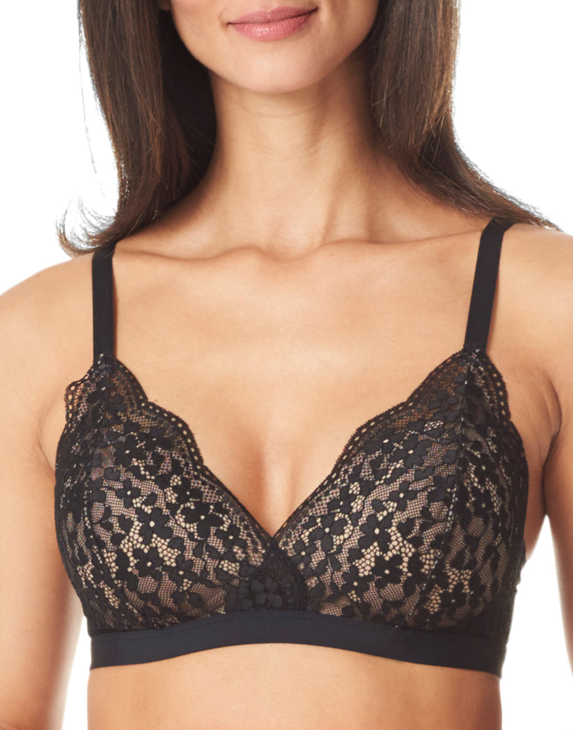 Black and Toasted Almond Front Warner's Lace Escape Wire-Free Contour Bra with Galloon Lace