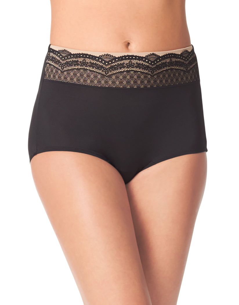 Black/Black Toasted Almond Front Warner's No Pinching No Problems Microfiber Brief with Lace RS7401P