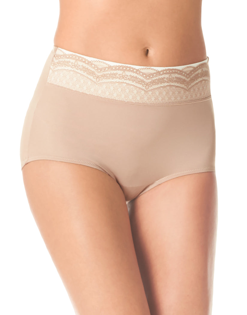 Toasted Almond/Toasted Almond Gardenia Front Warner's No Pinching No Problems Microfiber Brief with Lace RS7401P