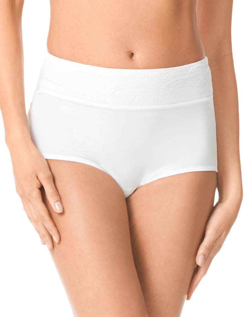 White/White Rose Water Front Warner's No Pinching No Problems Microfiber Brief with Lace RS7401P