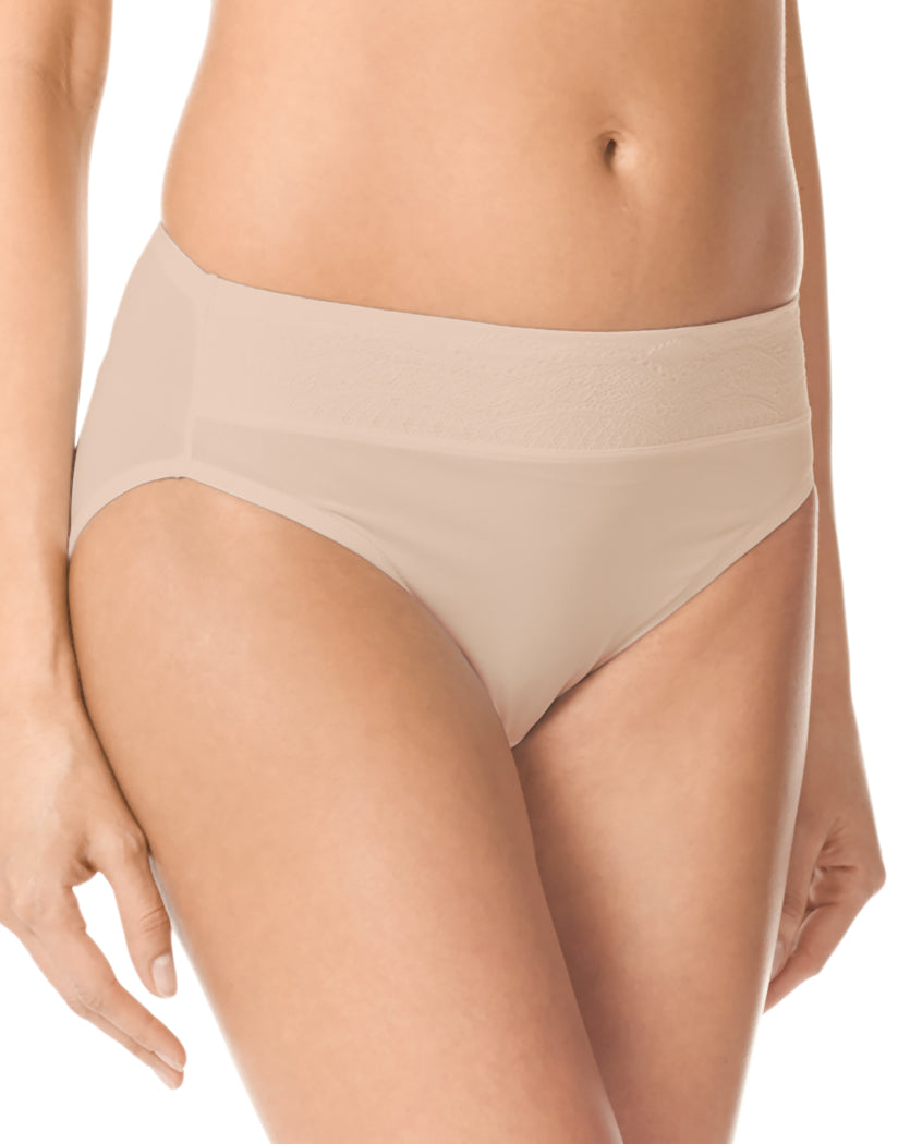 Toasted Almond/Toasted Almond Gardenia Front Warner's Hi-Cut No Pinch No Problem Microfiber Hi Cut Brief with Lace Waistband
