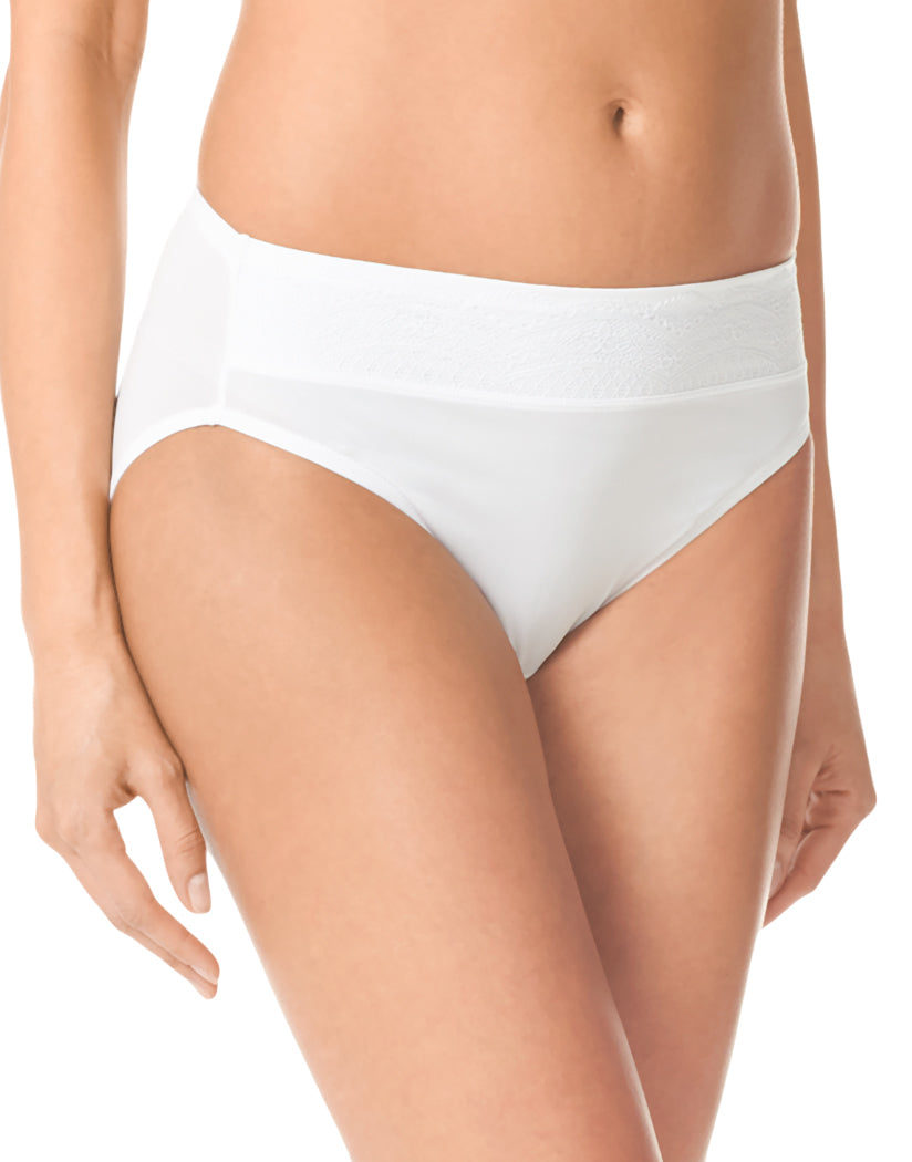 White/White Rose Water Front Warner's Hi-Cut No Pinch No Problem Microfiber Hi Cut Brief with Lace Waistband