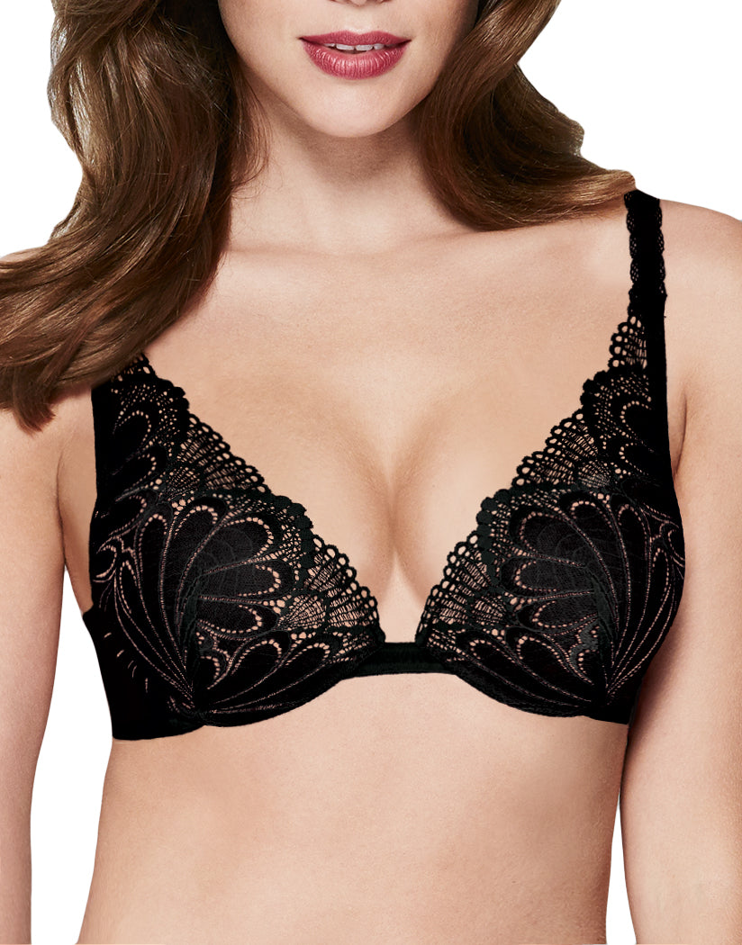a043437b17a39 Black Front Refined Glamour Triangle Push Up Bra