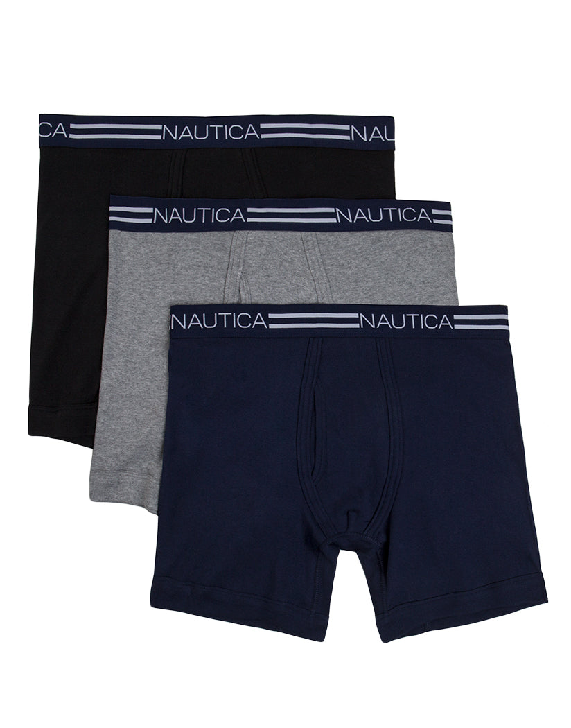 Black/Heather Grey/Peacoat Front Nautica 3-Pack Cotton Boxer Brief