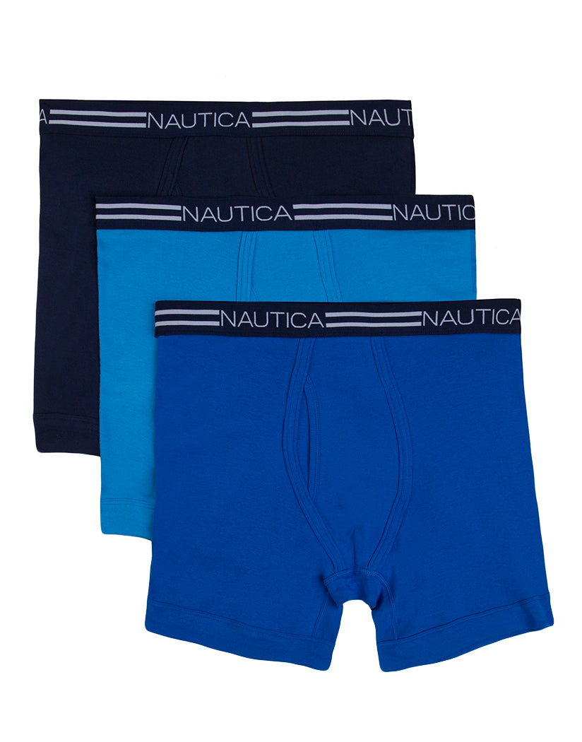 Peacoat/Aero/Sea Cobalt Front Nautica 3-Pack Cotton Boxer Brief X60304
