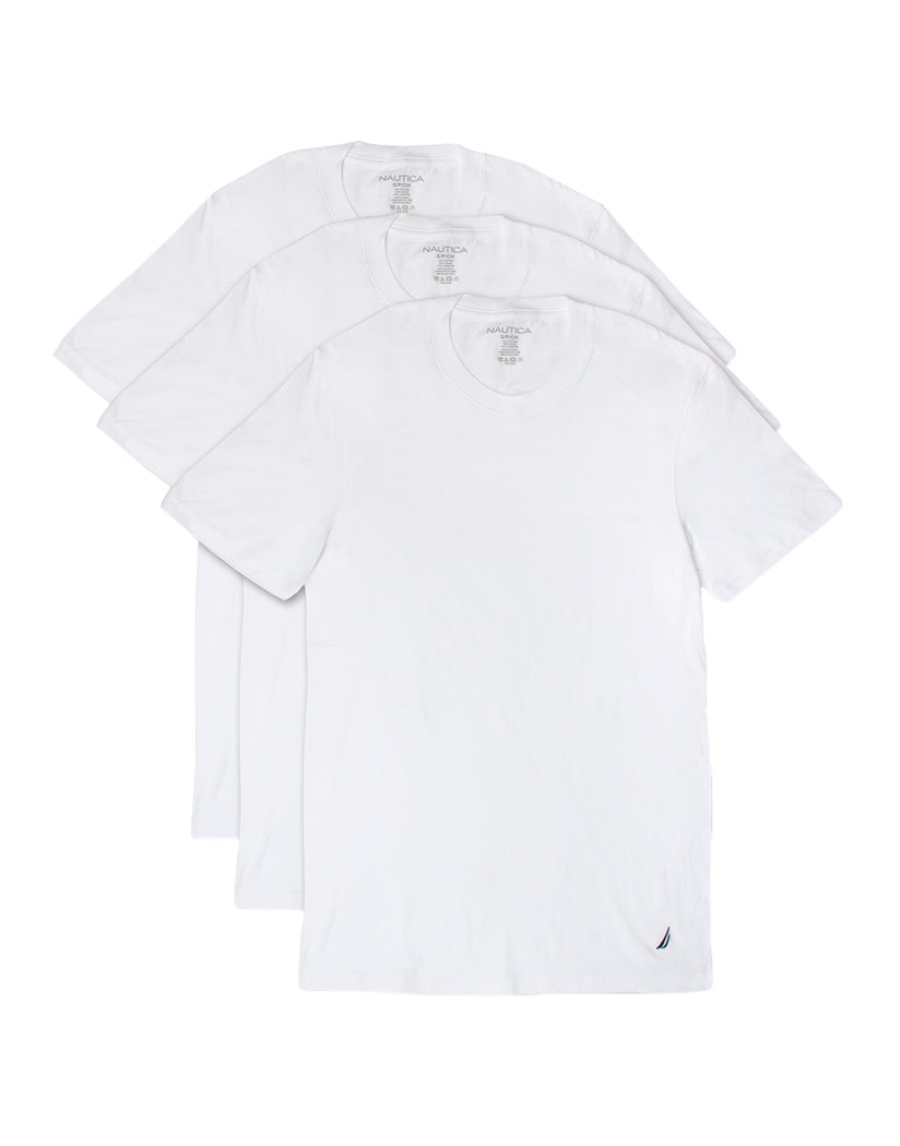White Front Nautica 3-Pack Cotton Crew T-Shirt White X60305