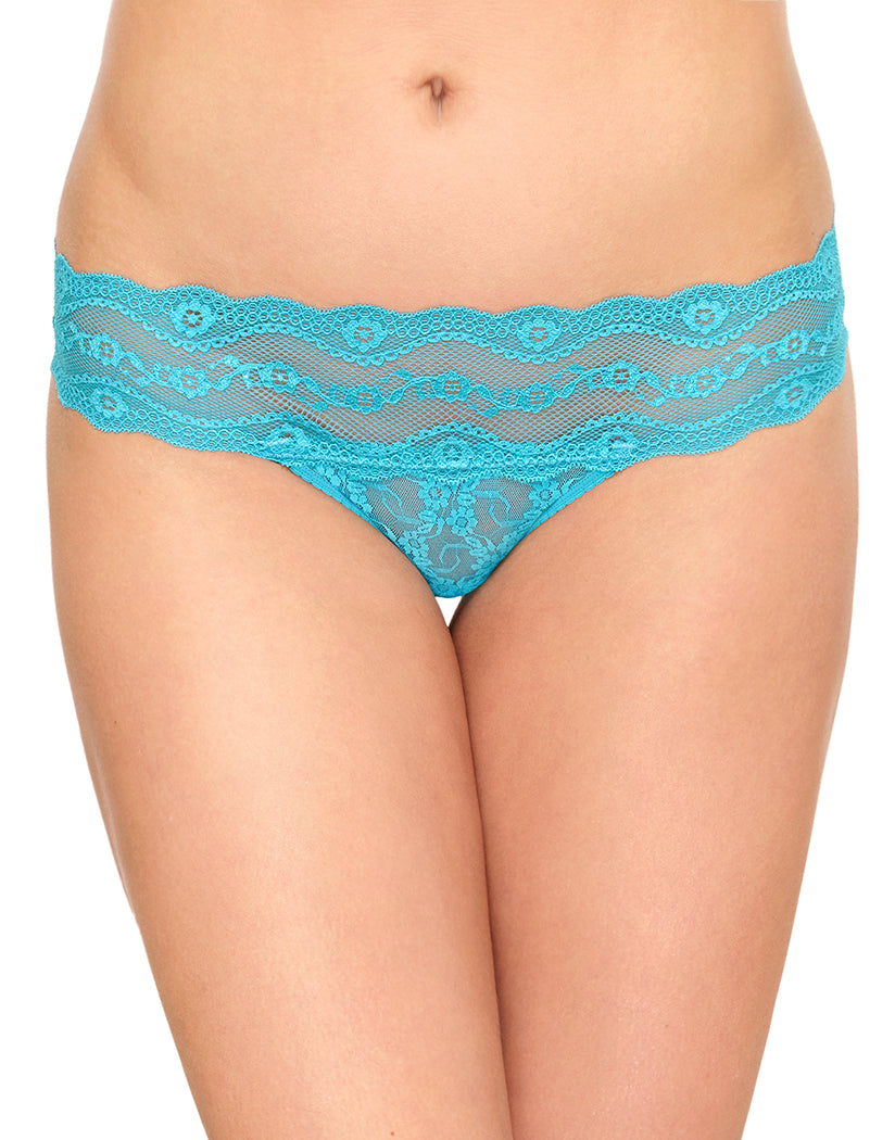 Peacock Blue Front b.tempt'd by Wacoal Lace Kiss Bikini Peacock Blue