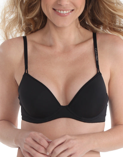 Black Front Calvin Klein Seductive Comfort Caress Customized Lift Bra