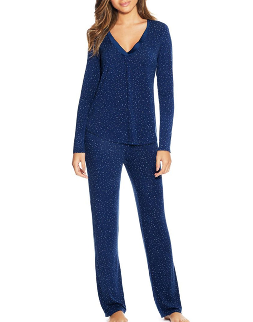 Blue Scattered Dot Front Maidenform V-Neck PJ Set MFF7851