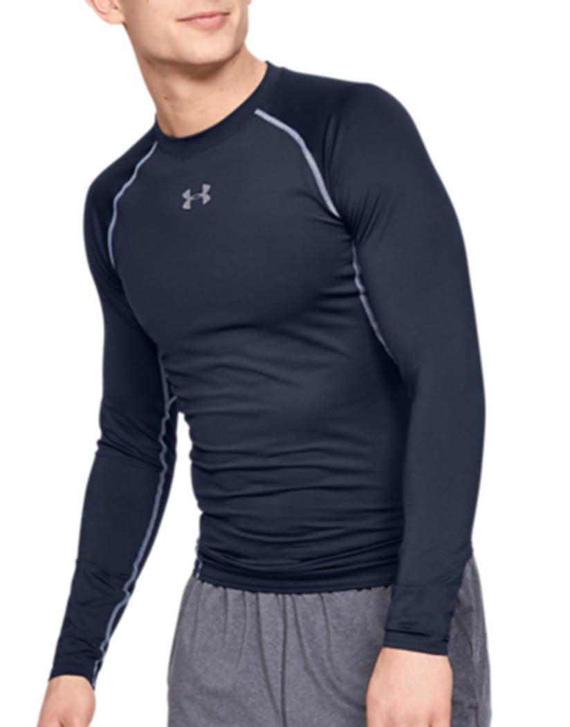 Midnight Navy Front Under Armour HeatGear Armour Long Sleeve Compression Shirt - 1257471