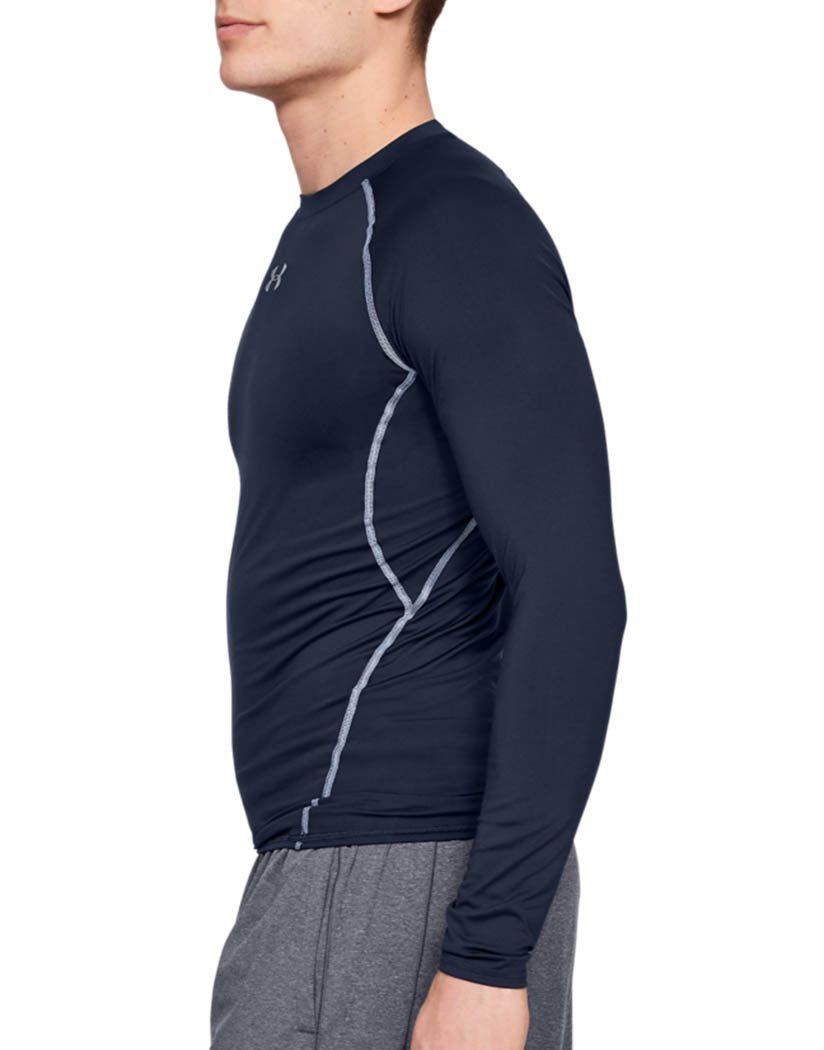 Midnight Navy Side Under Armour HeatGear Armour Long Sleeve Compression Shirt - 1257471