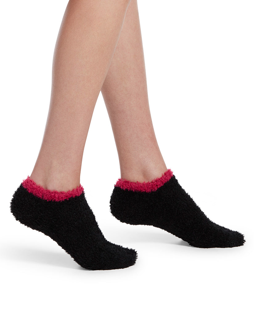 Black Front HUE Feathery Slipper Sock with Grippers 19098