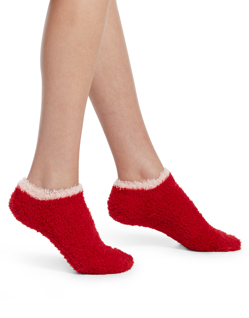 Red Hot Front HUE Feathery Slipper Sock with Grippers 19098