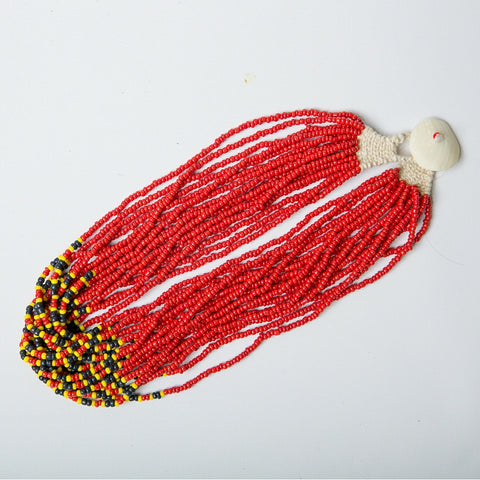 Indian Beaded Necklace - Red Multi