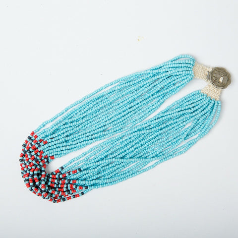 Indian Beaded Necklace - Teal Multi
