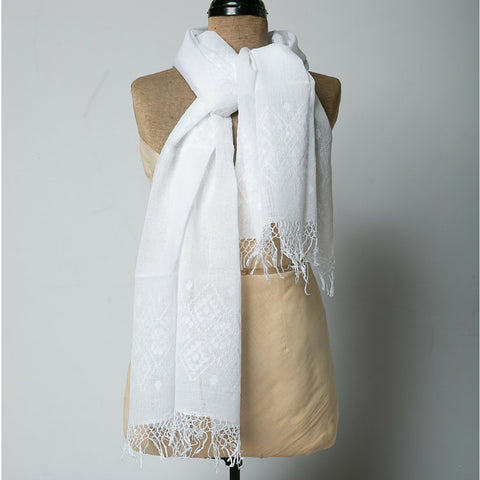 Guatemalan Embroidered Scarves - White