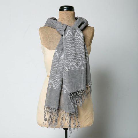 Guatemalan Embroidered Scarves - Grey