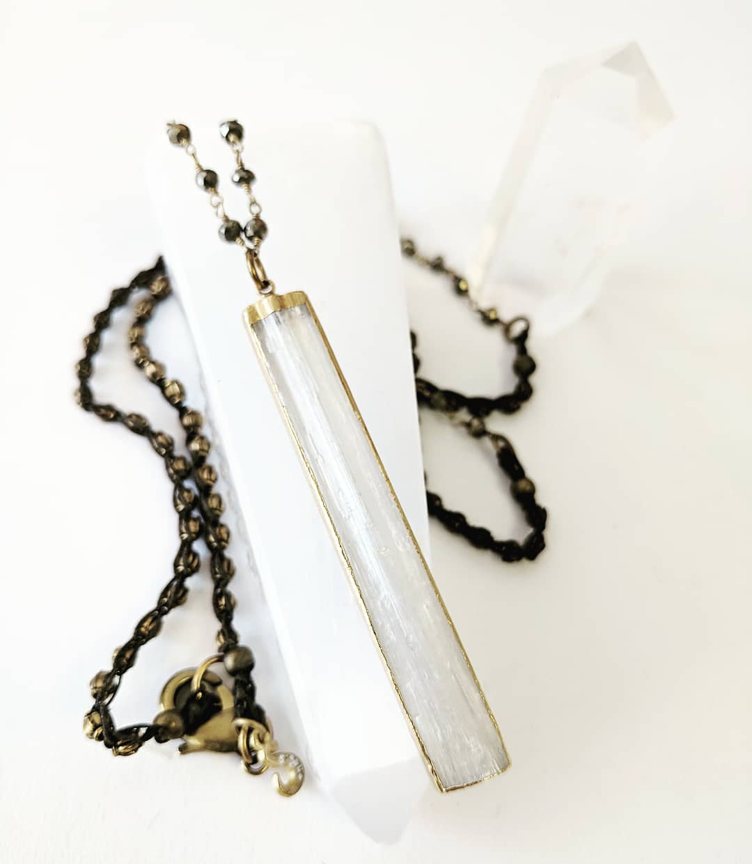 Selenite pendant necklace