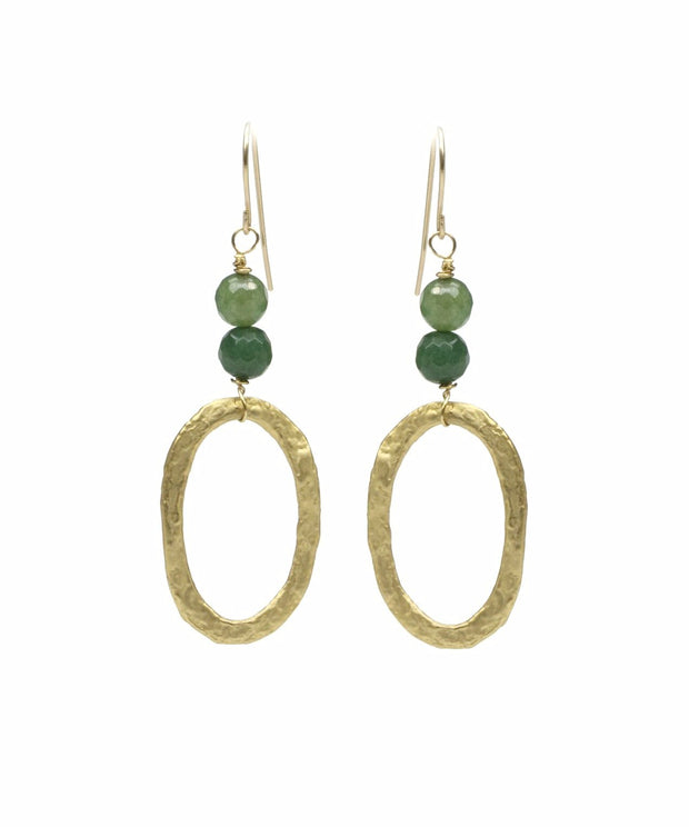"""BOHEMIAN"" Beaded Hammered Oval Aventurine Drop Earrings"