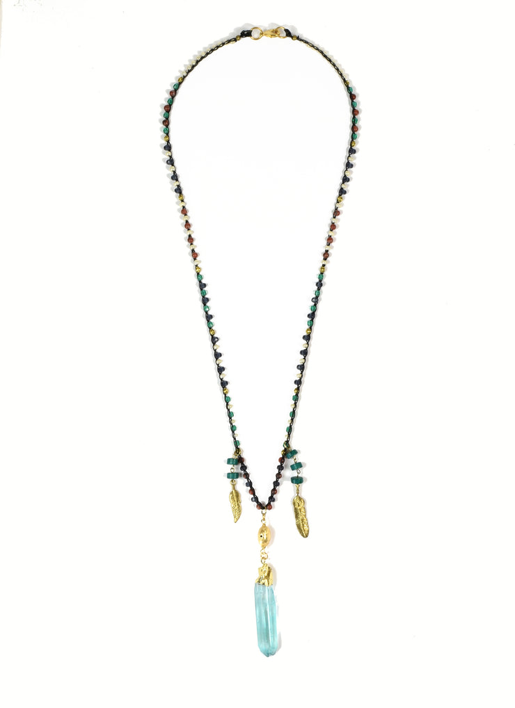 """BOHEMIAN"" Raw Aquamarine and Feather Layering Crystal Point Necklace - 39"""
