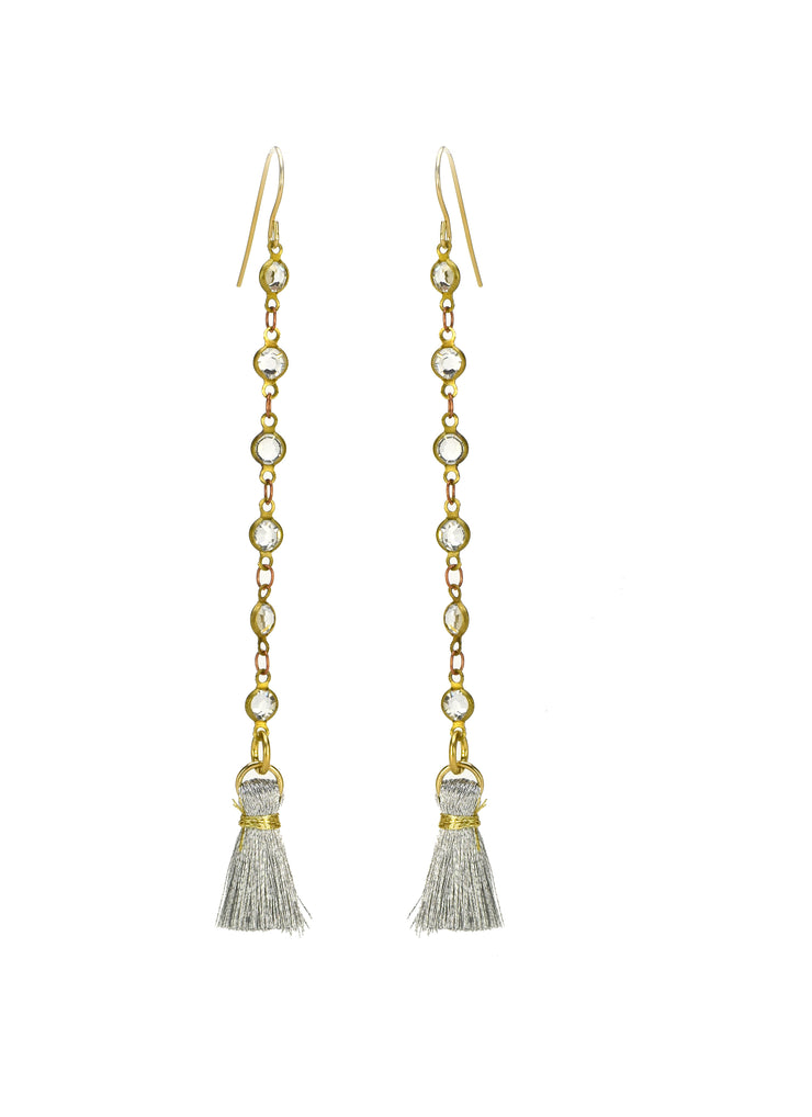 """BOHEMIAN"" Quartz Chain Tassel Drop Earrings"