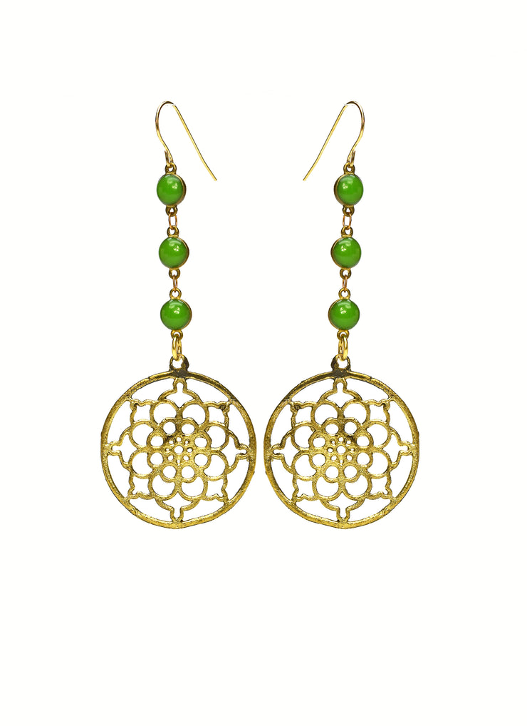 """BOHEMIAN"" Long Aventurine Chain Round Cut-Out Floral Drop Earrings"