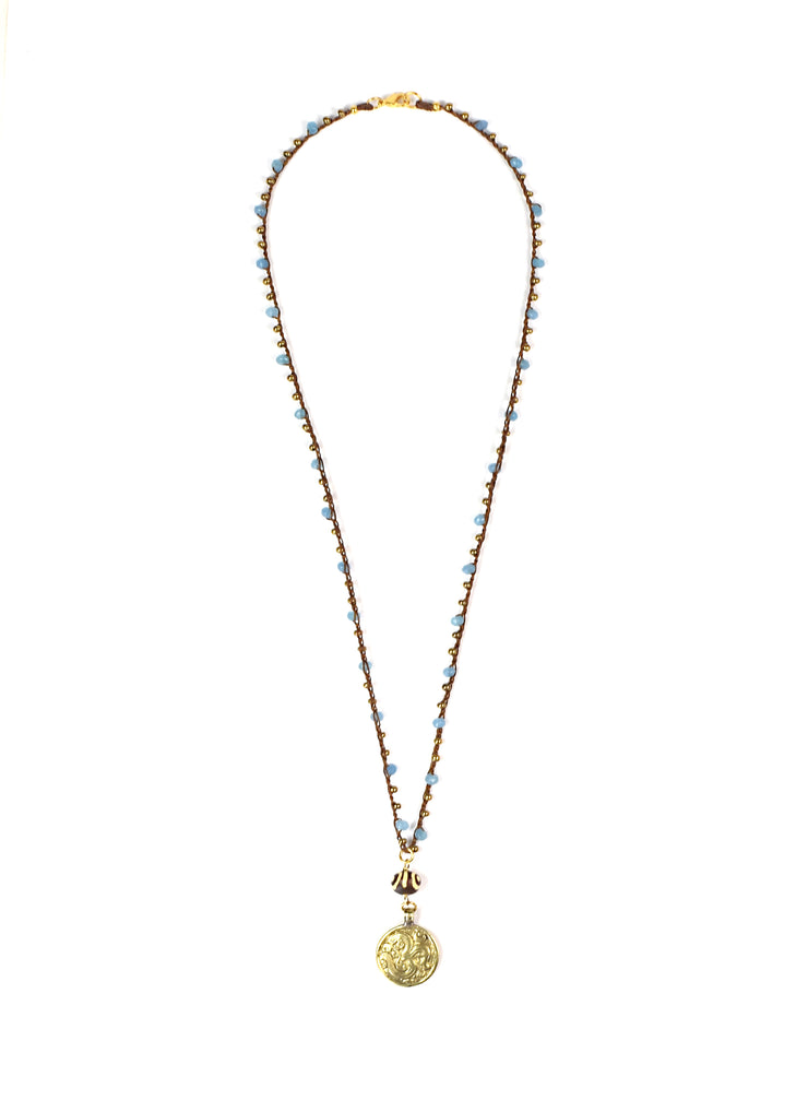 """MANTRA"" Om Repousse Blue and Gold Crochet Chain Pendant Necklace -38"""